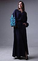 Платье с узором Дерево жизни, синий штапель, бирюзовая вышивка
