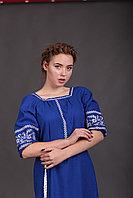 Женское ярко - синее платье с вышивкой (лен электрик) 52