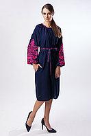 Короткое штапельное платье с розовой вышивкой Дерево жизни