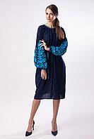 Платье с вышивкой Дерево жизни, синий  штапель