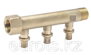 Распределительная гребенка RAUTITAN на 3 трубы R/Rp 3/4 -16/20 с присоединением труб на надвижных гильзах