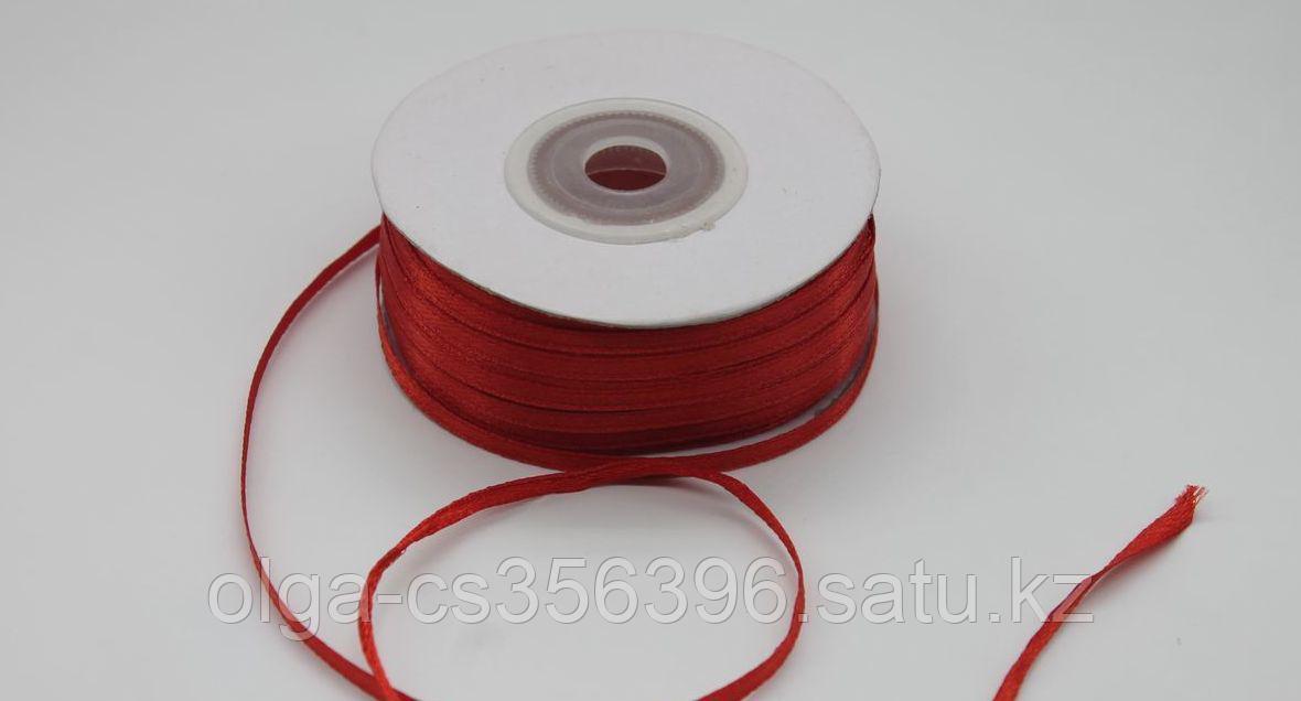 Атласная лента.  Красная. 3 мм. Creativ 2045