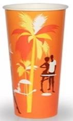 Стакан бум.д/хол.напитков 500мл.Пляж 25шт/уп.1000шт/кор Лига-Пак