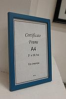 Рамка А4, фоторамка для сертификатов и документов, для вручения синяя, под дерево, в розн. и оптом
