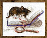 """Набор для вышивания крестом """"Котенок на книжке"""", фото 1"""