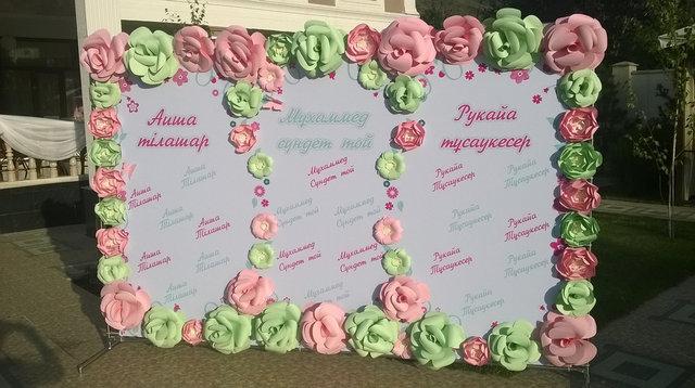 Бумажиное оформление: оформление цветами из бумаги 7