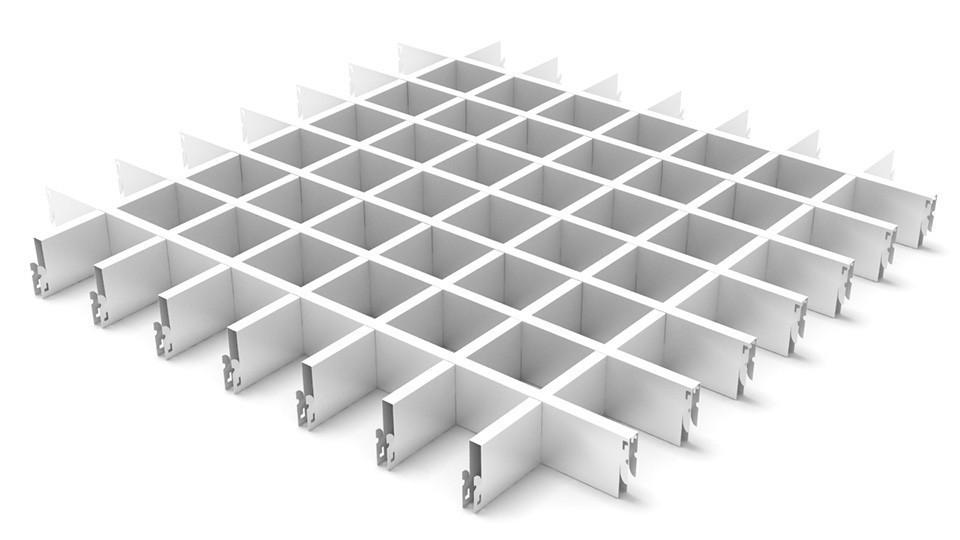 Потолок грильято белый 100х100