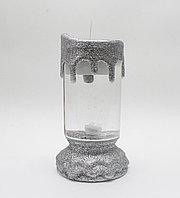 Свеча-лампа декоративная Romantic Candle S-100, серебристая, 17 см