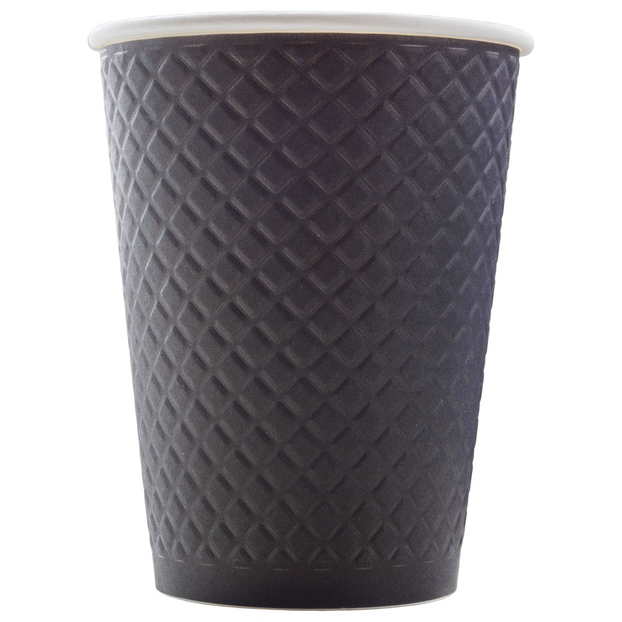 Стакан бумажный ThermoCup Waffle Черный 300 мл