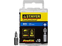 Биты для шуруповерта STAYER 26221-1-25-10_z01, ProFix Pozidriv, тип хвостовика C 1/4, № 1, L=25 мм, 10 шт.