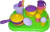 """Набор детской посуды """"Настенька"""" с подносом на 3 персоны 3957"""