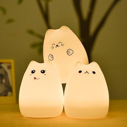 Силиконовый LED ночник-лампа Кошечка, фото 2