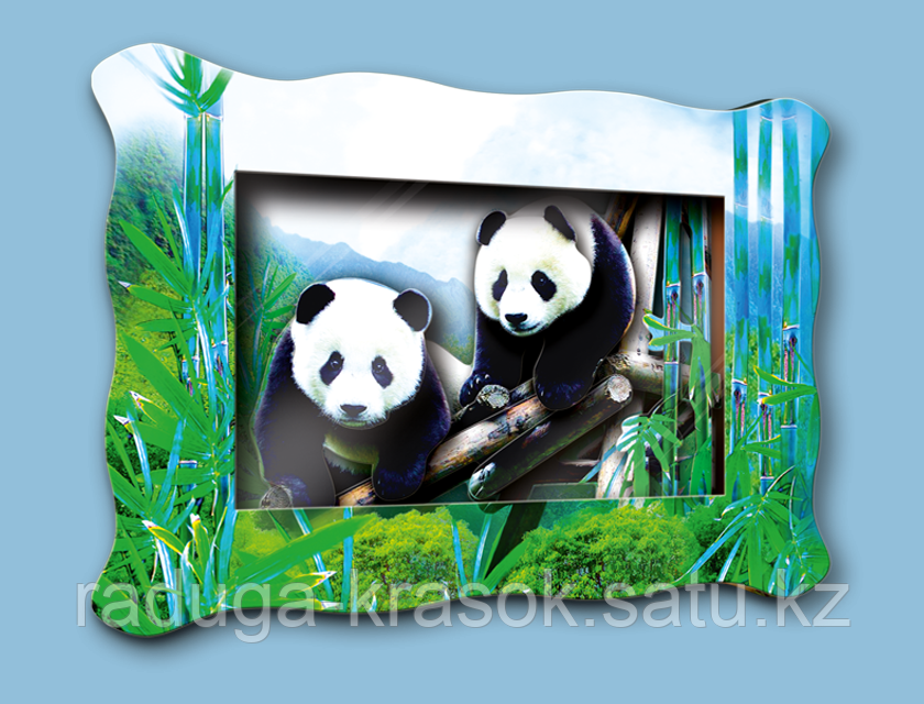 """Объемная картина """"Две панды"""""""