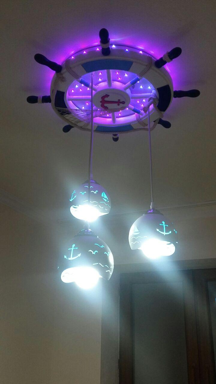 Люстра штурвал в детскую на 3 лампы