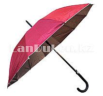 Зонт трость полуавтомат двухцветный бордовый/серебристый