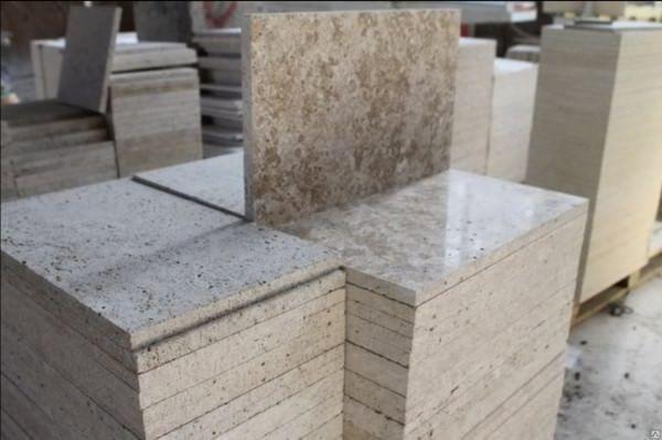 Травертиновые плитки 2 слой  60*30*2