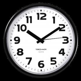Часы d=230мм, круглые, белые, черный корпус, пластиковое стекло Часпром