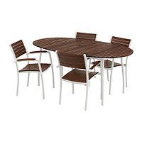 Стол+4 стула с подлокотниками ВИНДАЛЬШЁ коричневая морилка ИКЕА, IKEA