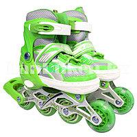 Ролики раздвижные с прошивкой и гелевыми колесами (коньки роликовые) зеленые