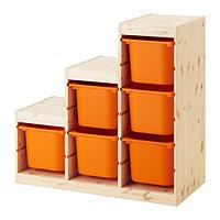стеллаж для игрушек ТРУФАСТ оранжевый ИКЕА, IKEA, фото 1