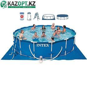 Бассейн каркасный Intex круглый 457х122 см (насос с фильтром 220V, лестница, тент, подстилка)
