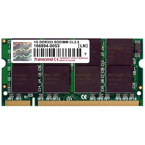 Память для ноутбука SO-DIMM 1 GB DDR333, TRANSCEND TS128MSD64V3A, for notebook,, фото 2
