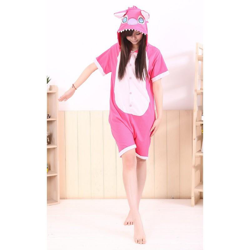 Кигуруми летняя пижама Стич розовый