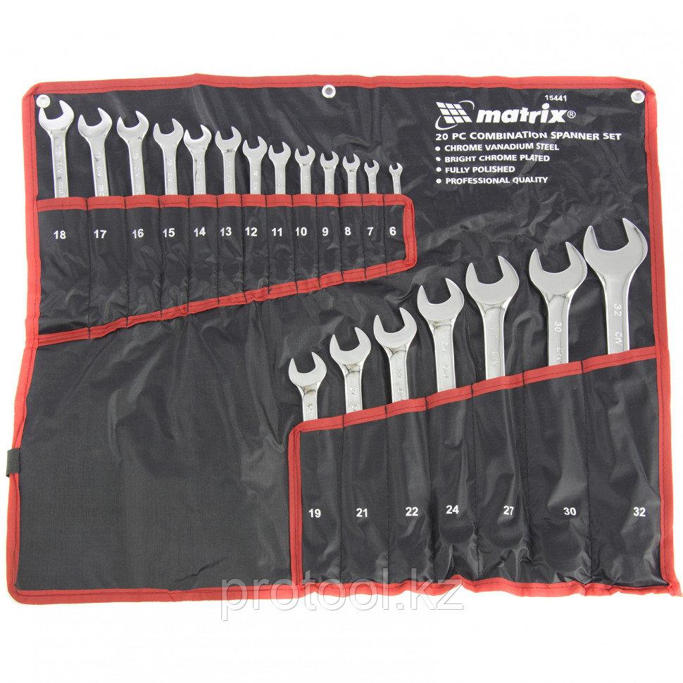 Набор ключей комбинированных 6-32 мм, 20 шт., CrV, полированный хромMATRIX