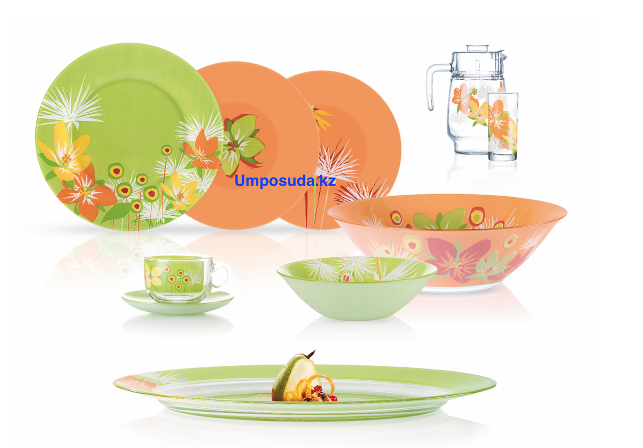 Столовый сервиз Luminarc Pop Flowers Mix Green&Orange 46 предметов на 6 персон