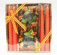 Свечи с подсвечниками в подарочной упаковке, 4 шт., оранжевые