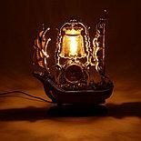 """Часы-светильник с будильником """"Корабль с коричневой кормой"""", от 220v, фото 3"""