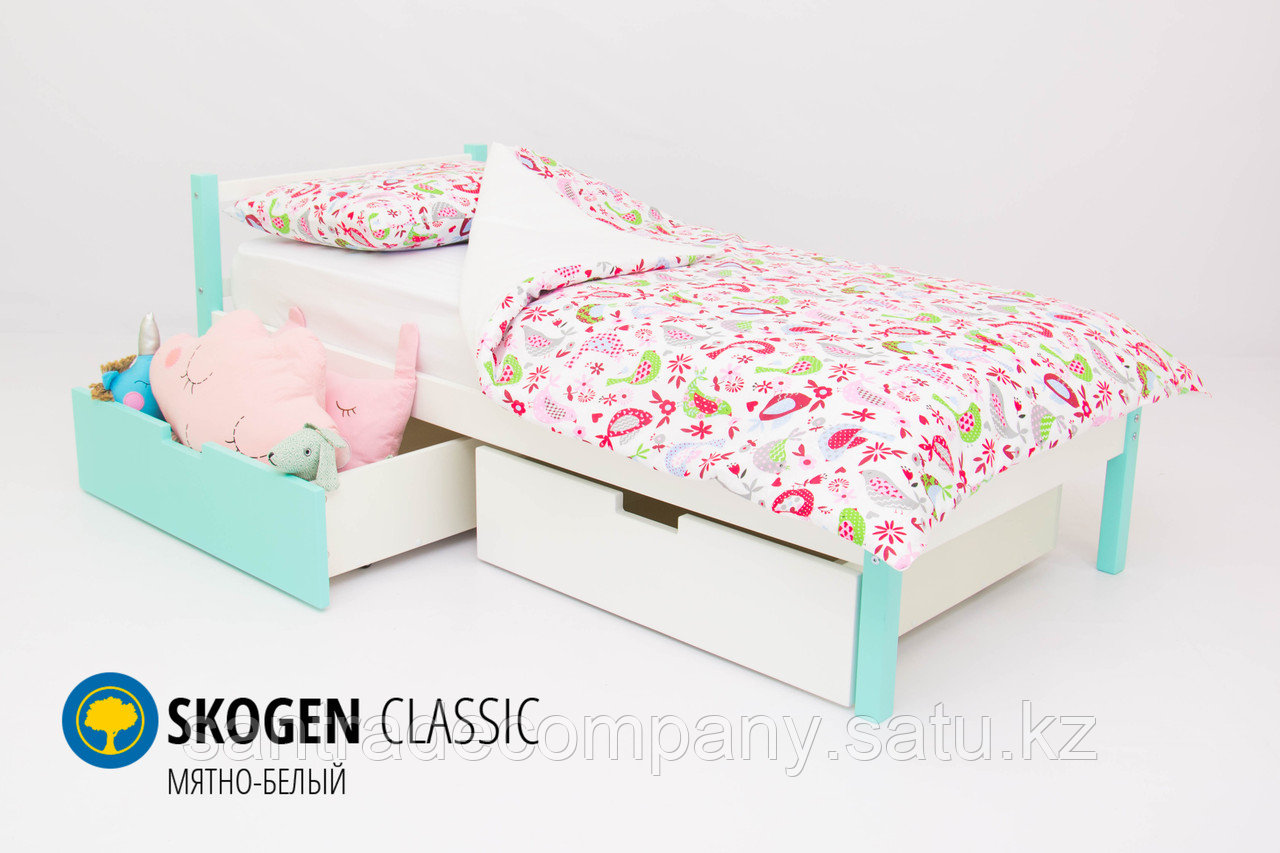 Детская кровать Бельмарко «Skogen classic Мятно-Белый»