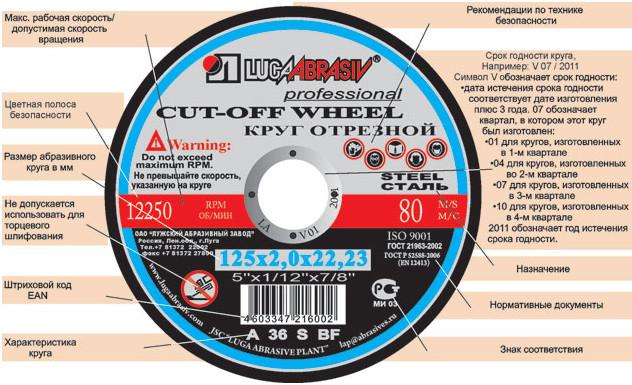 Диск Luga Abrasiv отрезной по металлу 300х3х25,4