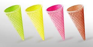 Вафельный рожок для мороженого  цветной 110 мм
