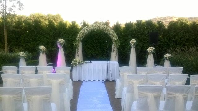 Церемония регистрации: арка и стойки из живых цветов, банты на стулья
