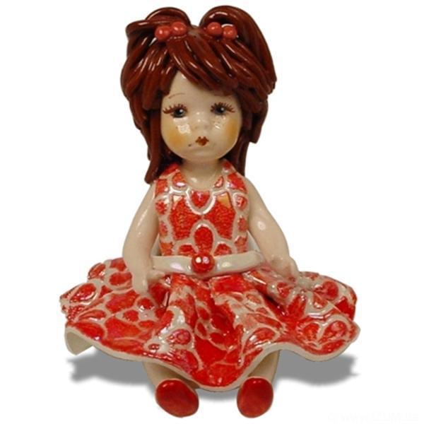 Статуэтка Кукла в красном. Ручная работа из керамики, Италия