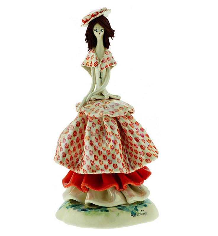 Статуэтка Леди в розовом. Керамика, Италия, ручная работа