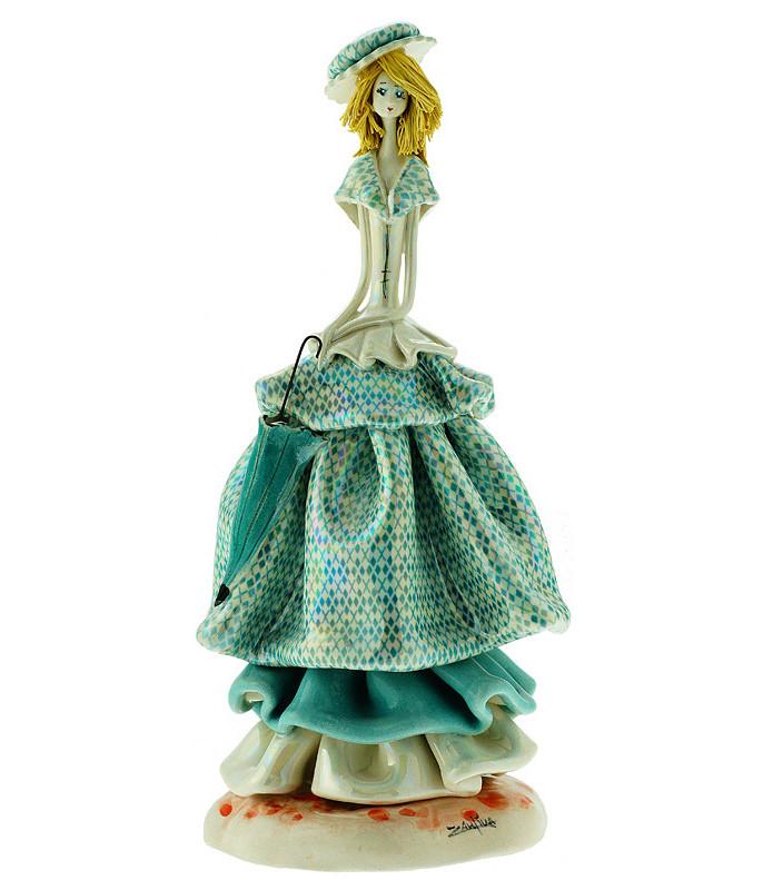 Статуэтка Леди с зонтиком. Керамика, Италия, ручная работа