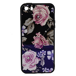 Чехол для Apple iPhone 5/5S/5SE back cover plastic Younicou roses crystals Blue