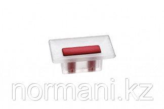 Ручка-кнопка 16 мм, отделка транспарент матовый + красный