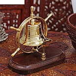 "Колокол латунь на подставке ""В штурвале"" 15х11х17,5 см , фото 3"
