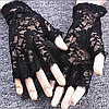 Ажурные перчатки с открытыми пальчиками, чёрные, фото 3