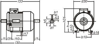 Чертеж: габаритные и присоединительные размеры электродвигателя АДМ132M2 с лапами