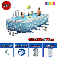 Каркасный бассейн Intex 28316, Rectangular Prism Frame Pool, 400х200х100 см