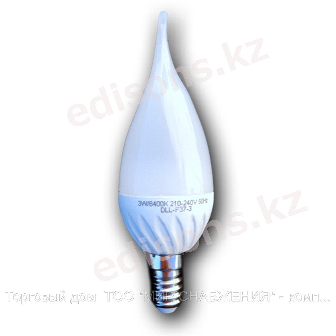 DLL-F37-7 Светодиодная лампа свеча на ветру Е14-7Вт 3000К.ОПТОМ
