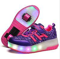Роликовые кроссовки FASHION с подсветкой фиолетовые, фото 1