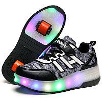 Роликовые кроссовки FASHION с подсветкой серо-черные, фото 1