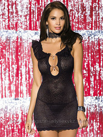 Сорочка женская Obsessive Diamond chemise black