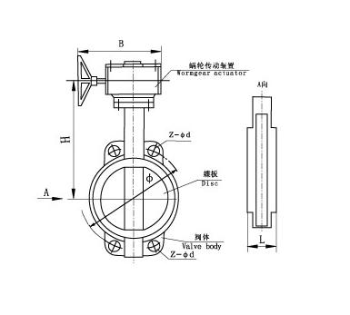 Затвор дисковый межфланцевый с редуктором Dn 250 Pn 16 (КНР) 32ч501р, фото 2