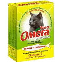 ОМЕГА NEO Мультивитаминное лакомство Для кошек протеин и L-карнитин 90таб